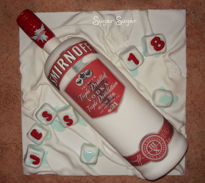 Fantastic Smirnoff Vodka Bottle Birthday Cake With Images Bottle Cake Funny Birthday Cards Online Alyptdamsfinfo