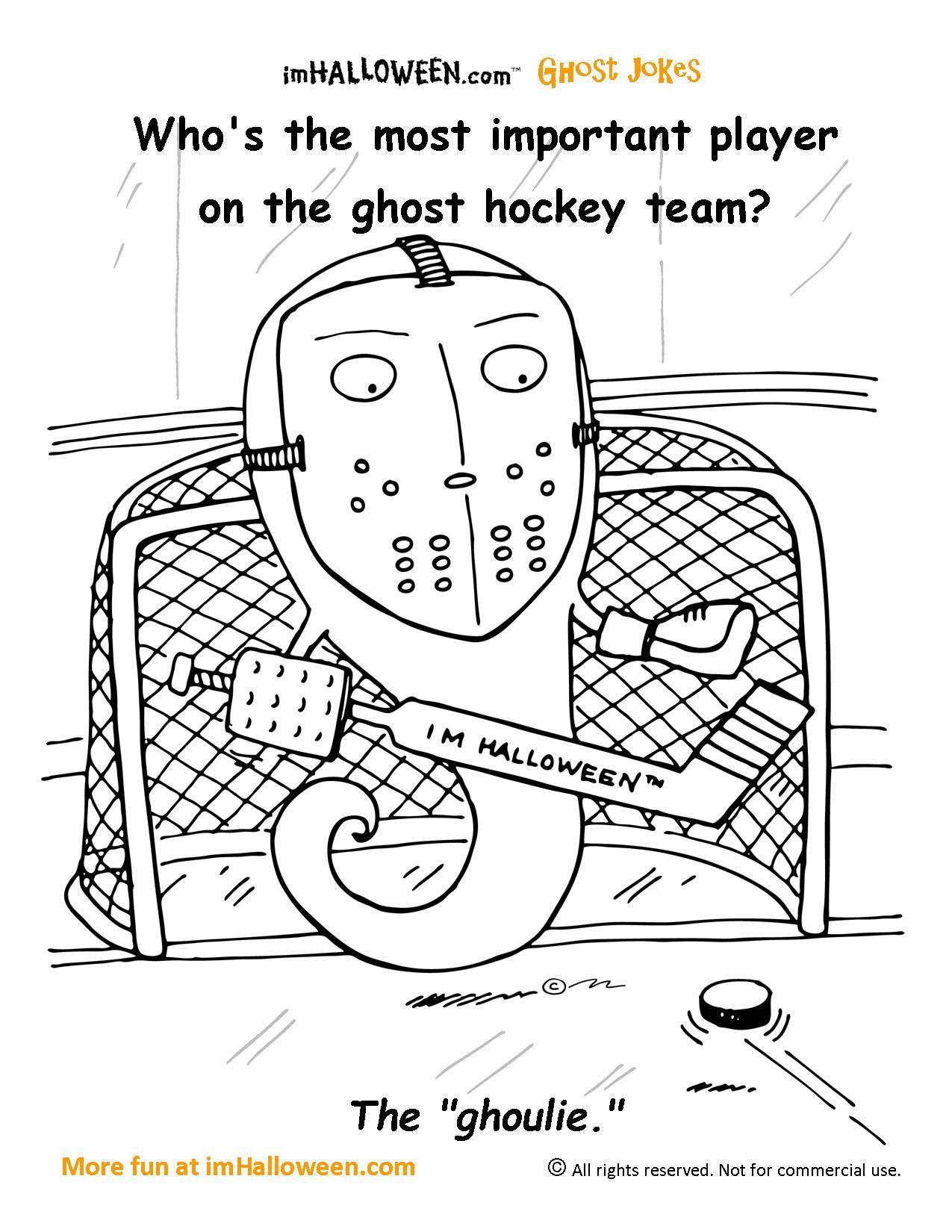 Ghost Hockey Coloring Page Halloween Jokes Ghost Jokes Hockey Halloween