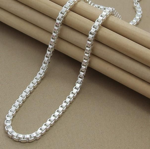 Cool box chains collar 925 silver necklace for men fashion silver cool box chains collar 925 silver necklace for men fashion silver jewelry necklace chains pendant aloadofball Image collections