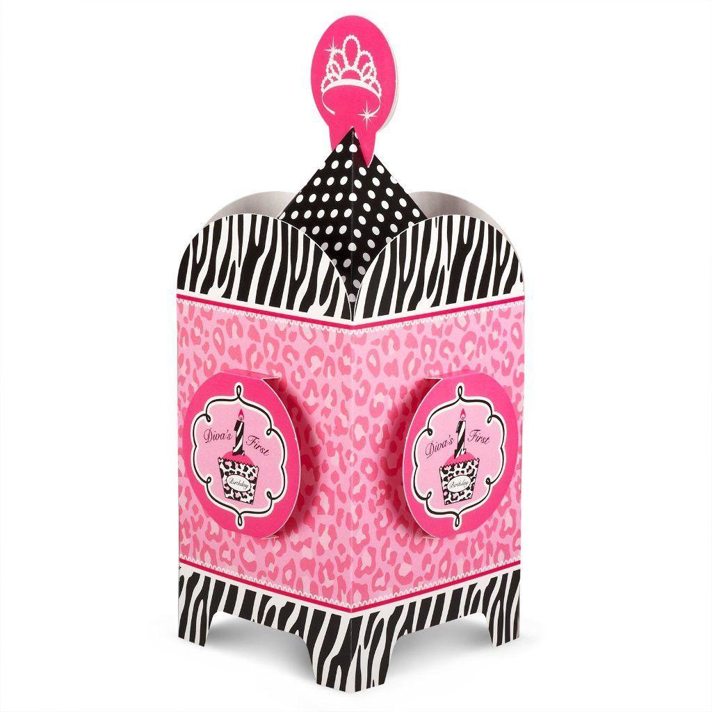 diva zebra print 1st birthday centerpiece Case of 8 | 1st ...
