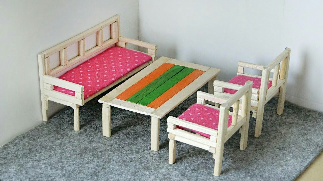 Diy miniature furniture from chopsticks table and chairs