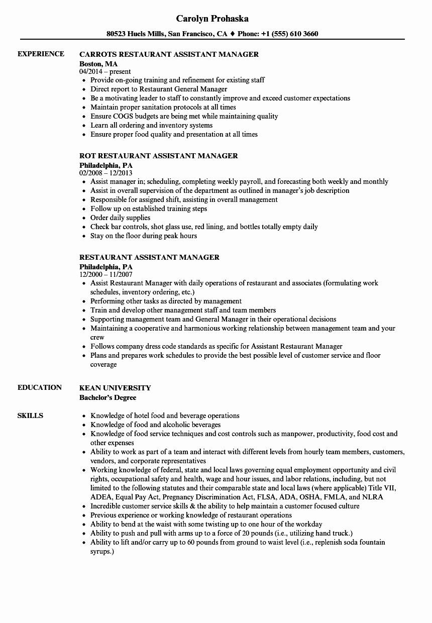 20 assistant Manager Job Description Resume Restaurant