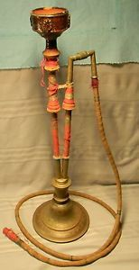 Large Antique Vintage Brass India Hookah Hookah Water Pipes
