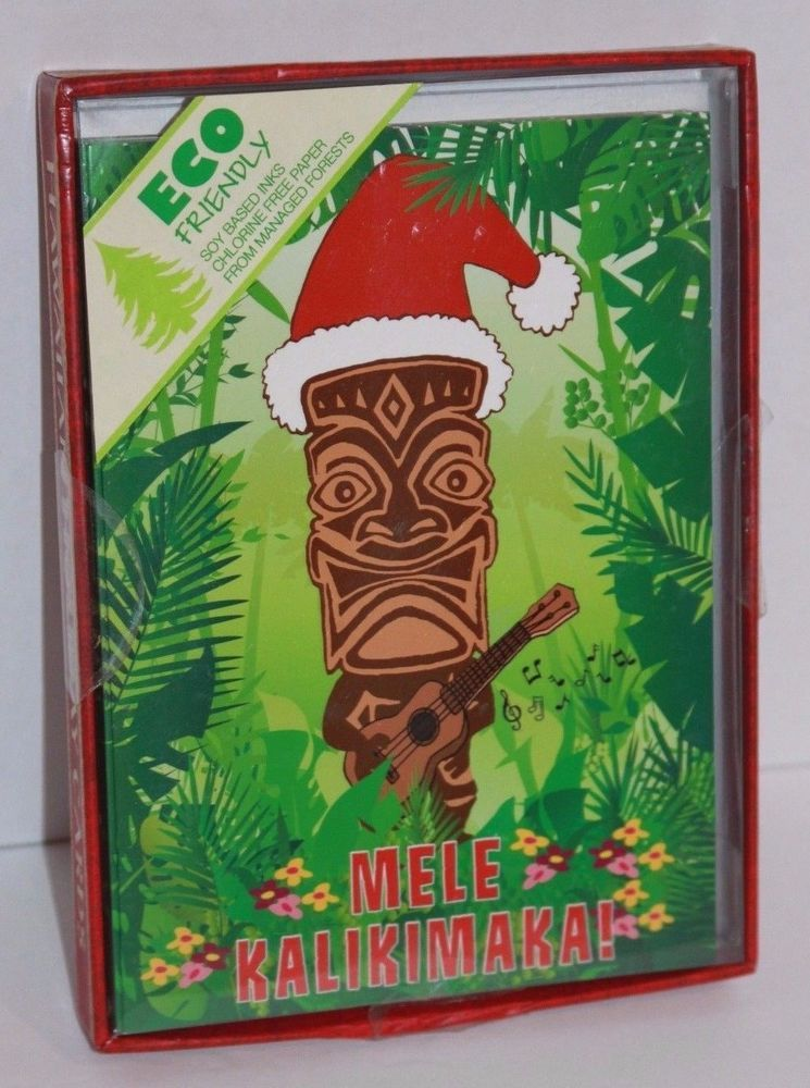 Details about Box of 10 Christmas Tiki Cards Island Art Store Guitar ...
