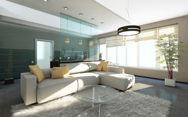 Weiß, Grau Und Blau Wohnzimmer Interior Design Mit Großen Weißen Sofa,  Versenkte Beleuchtung Und Weißen Shag Teppich