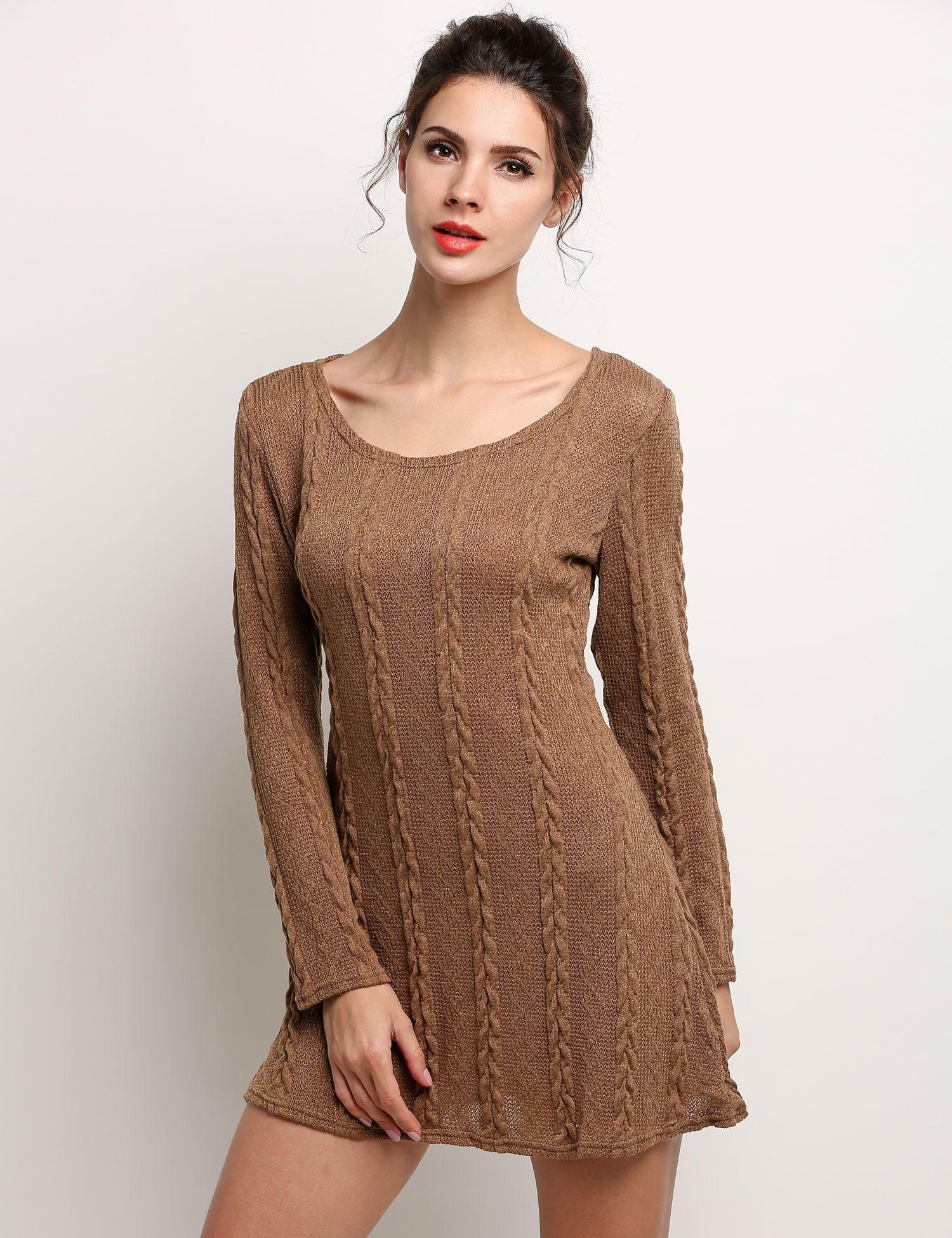 Marrón Mujeres Sweet Casual O-cuello de manga larga que hace punto Mini  vestido sólido dresslink.com a0803aa4d98f