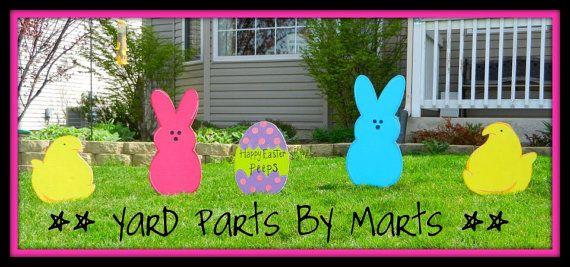 EASTER Yard Art PEEPS & CHICKS  5pc set Yard by YardPartsByMarts #ExpressYourPeepsonality