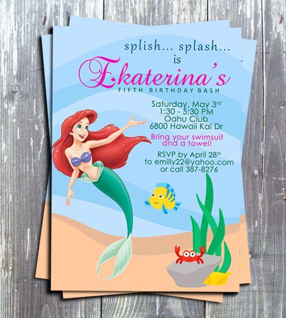 The Little Mermaid Princess Ariel Printable Birthday Invitation Disney