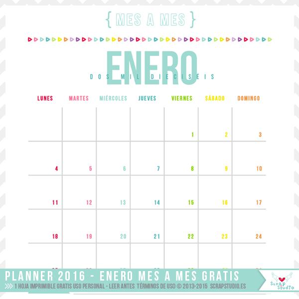 DESCARGAR GRATIS – Planificador Calendario Mensual de Enero 2016 AQUÍ: http://scrapstudio.es/planner-2016-ya-disponible