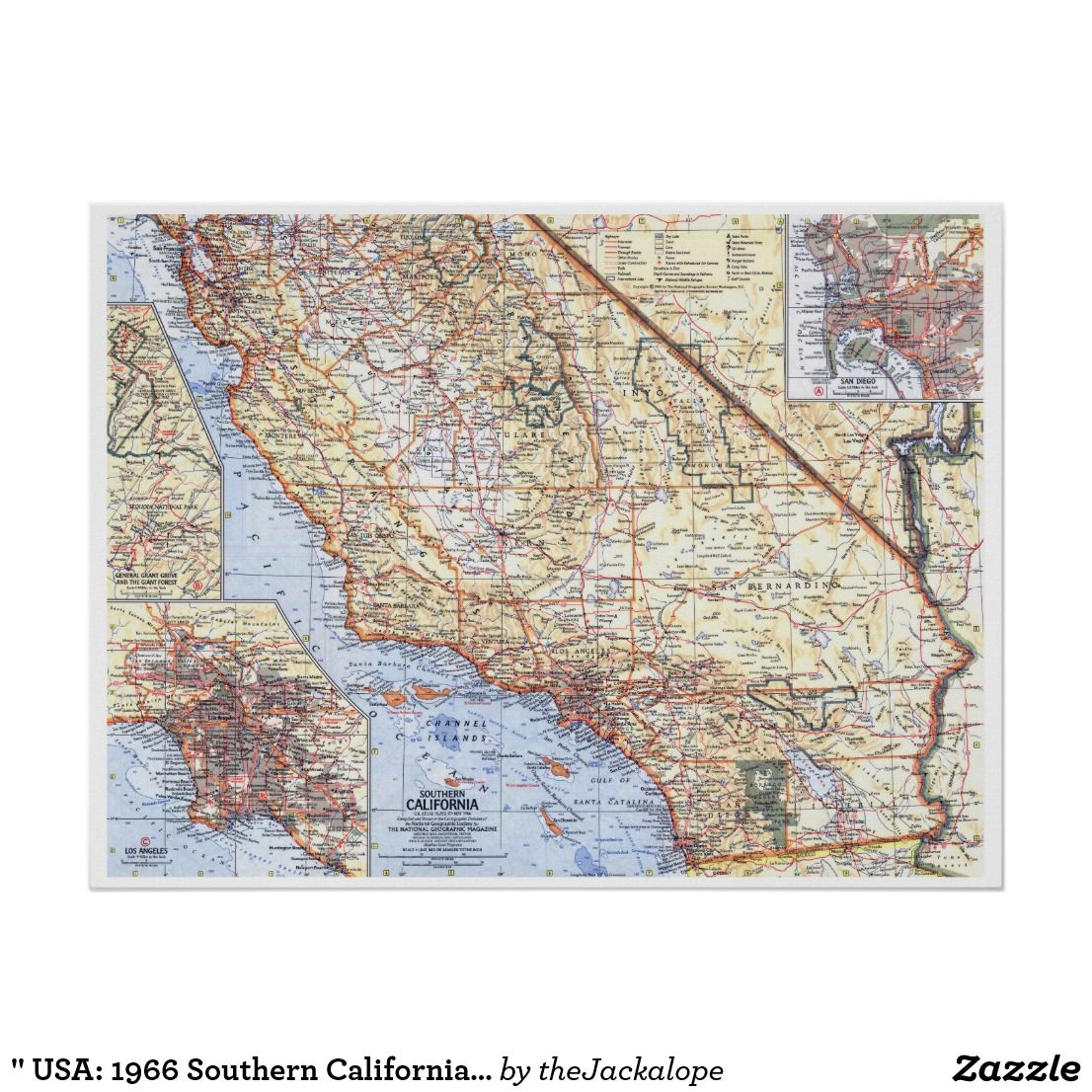 1966 southern california detailed map
