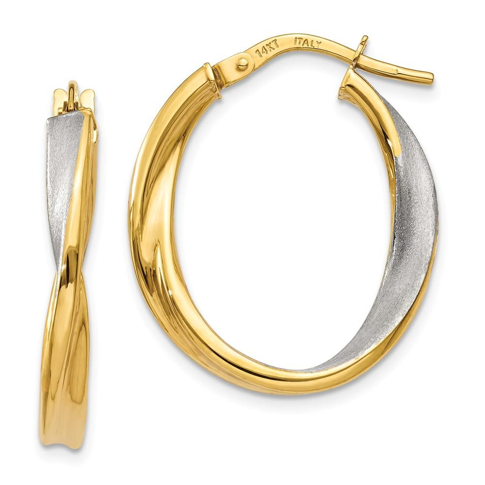 14K /& Rhodium Polished and Satin Twisted Oval Hoop Earrings