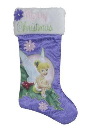DISNEY TINKERBELL ON BELL PURPLE /& WHITE FELT CHRISTMAS HOLIDAY STOCKING