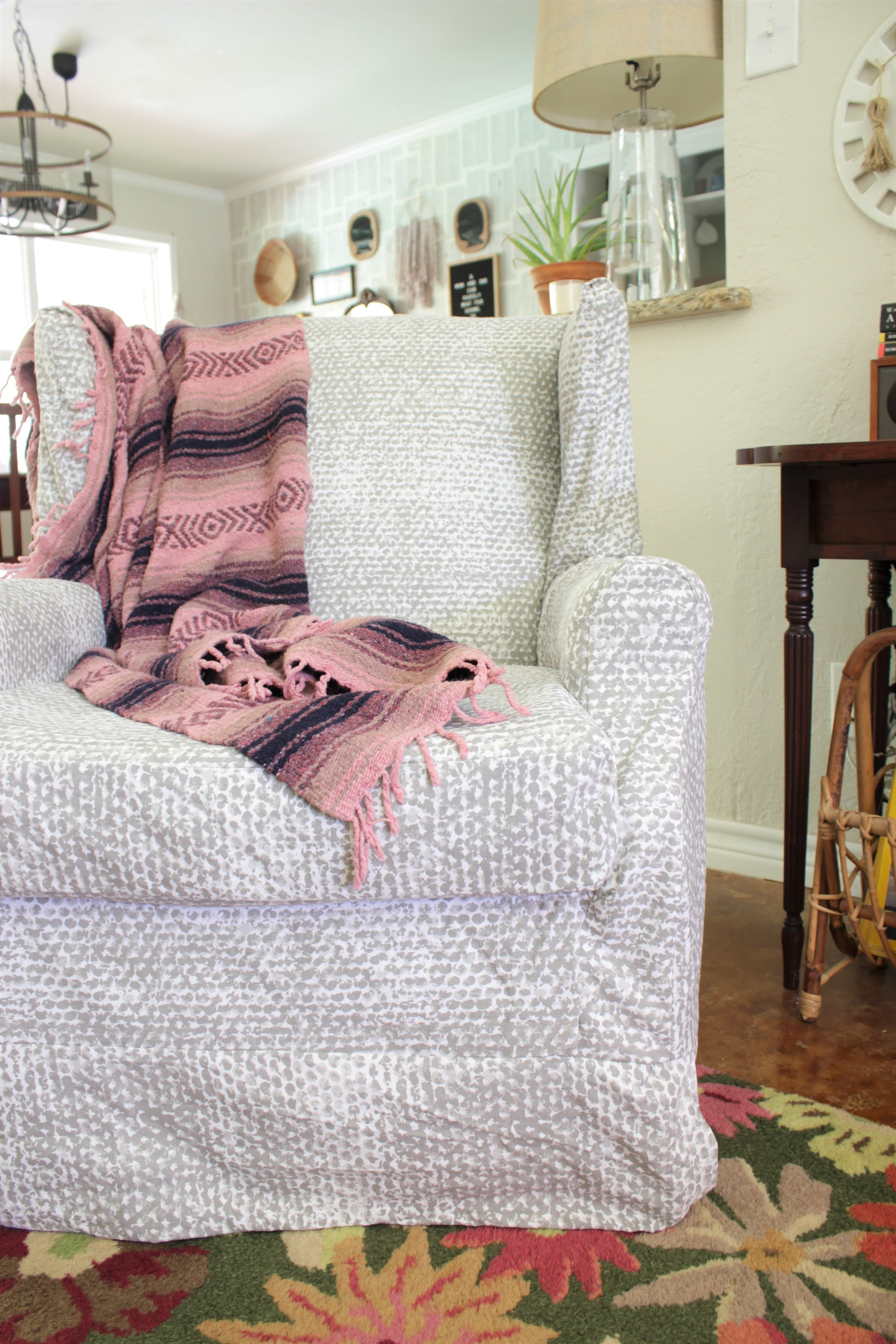 Wingback Chair Slipcover Tutorial | Create Your Own DIY Slipcover To  Refresh An Old Wingback Chair With This Fun And Easy Tutorial! Fabric.com  Blog
