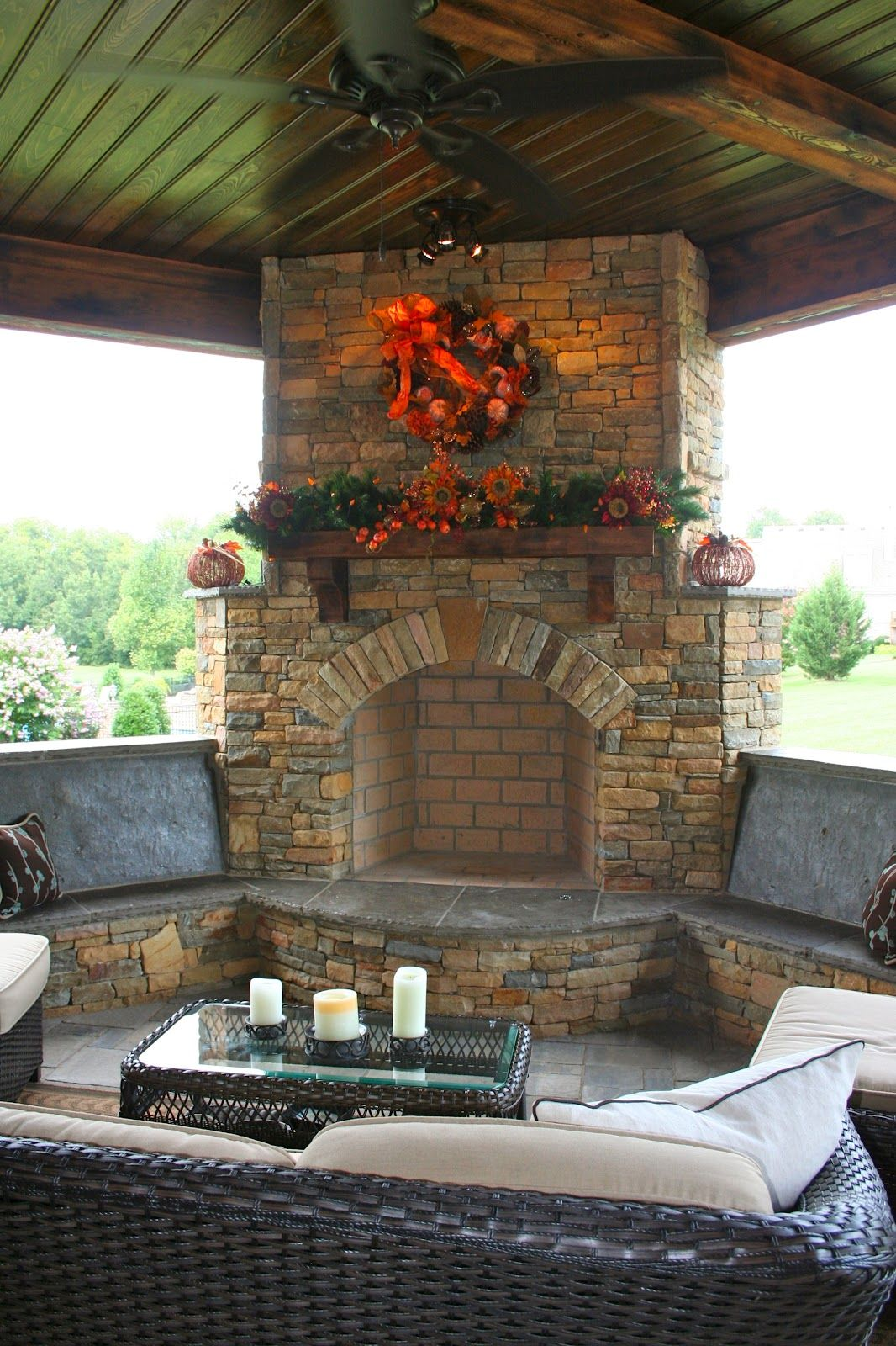 stone fireplace and bench seating diy patio outdoor on best large backyard ideas with attractive fire pit on a budget id=44323