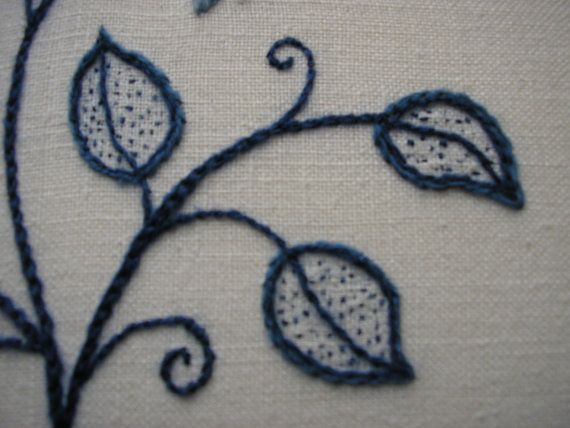 REDUCED Blue and White Crewel Embroidery by MaggieAliceMary