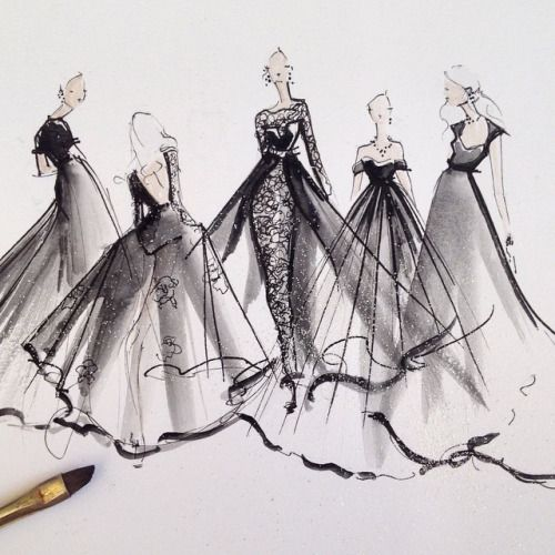 Haute couture fashion drawings of dresses