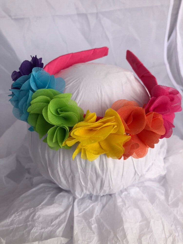 rainbow flower crown Headband- unicorn fairy flower girl birthday hair accessory gift #crownheadband