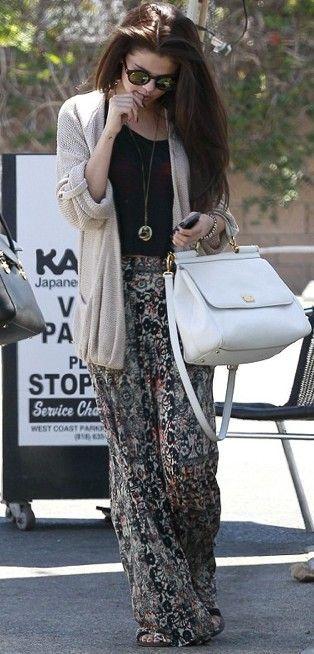 Selena Gomez Black top beige maxi cardigan printed maxi skirt ...