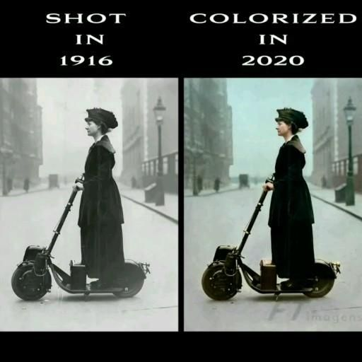 #Colorized by @ftimagens Lady Florence Norman, a suffragette, on her motor-scooter in 1916, travelling to work at offices in #London where she was a supervisor. The scooter was a birthday present from her husband, the journalist and Liberal politician Sir Henry Norman. #urbanscooter #scooter #escooter #vespastyle #antique #vespahobby #classic #urbanmobility #scooterlife #vintage #vintagestyle #retro #vintageshop #ftimagens #1920s #1910s #history