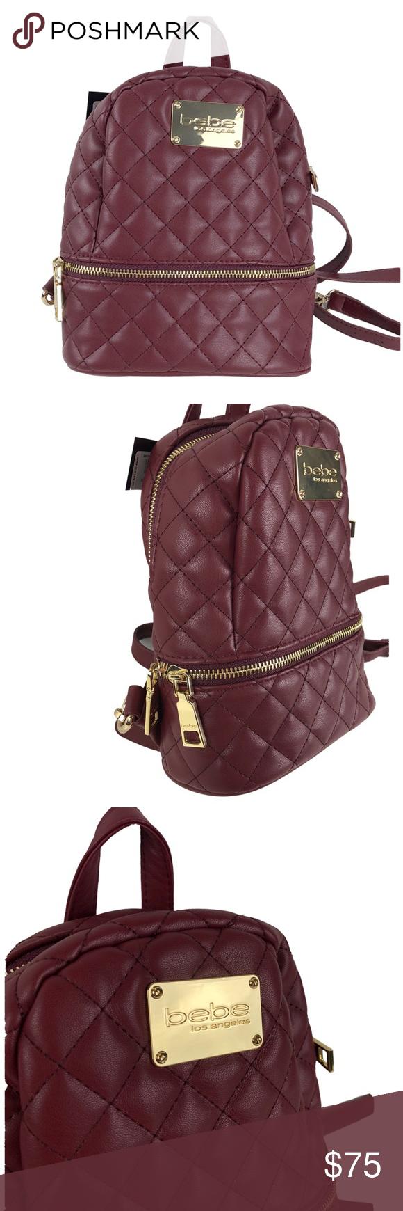 3444301caefb Bebe Mini Backpack MSRP  109 Wine Danielle Quilted NWT Wine Authentic bebe  USA Danielle Mini Backpack