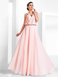 uma colher-line até o chão chiffon vestido de noite – EUR € 123.74