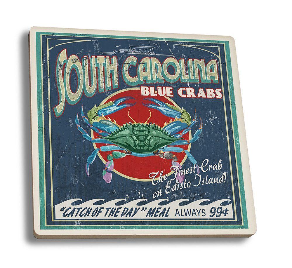 Edisto Beach, South Carolina - Blue Crabs Vintage Sign - Lantern Press Artwork