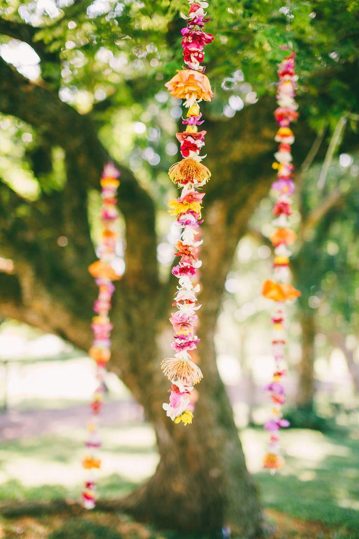 Tropical intimate hawaiian wedding destination wed hawaii hanging flower garland ceremony ceremonydecor weddingchicks izmirmasajfo