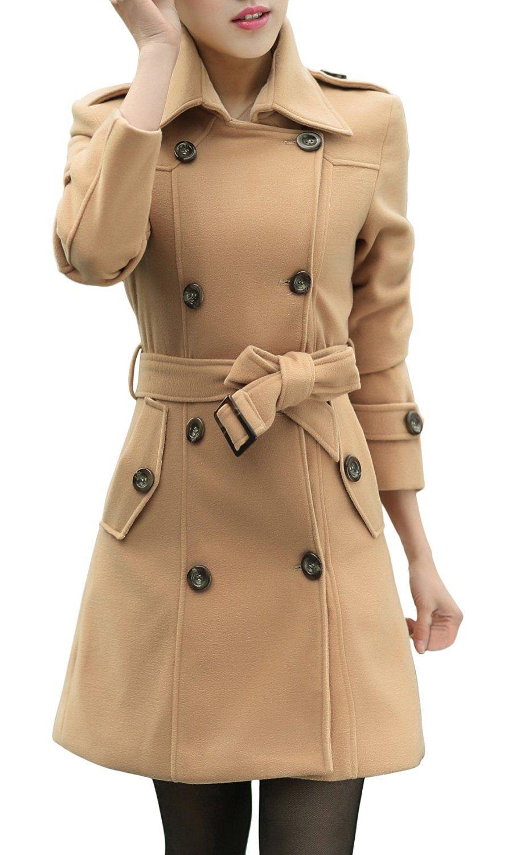 Wantdo Women's Double-Breasted Woolen Pea Coat with Belt | Jackets ...