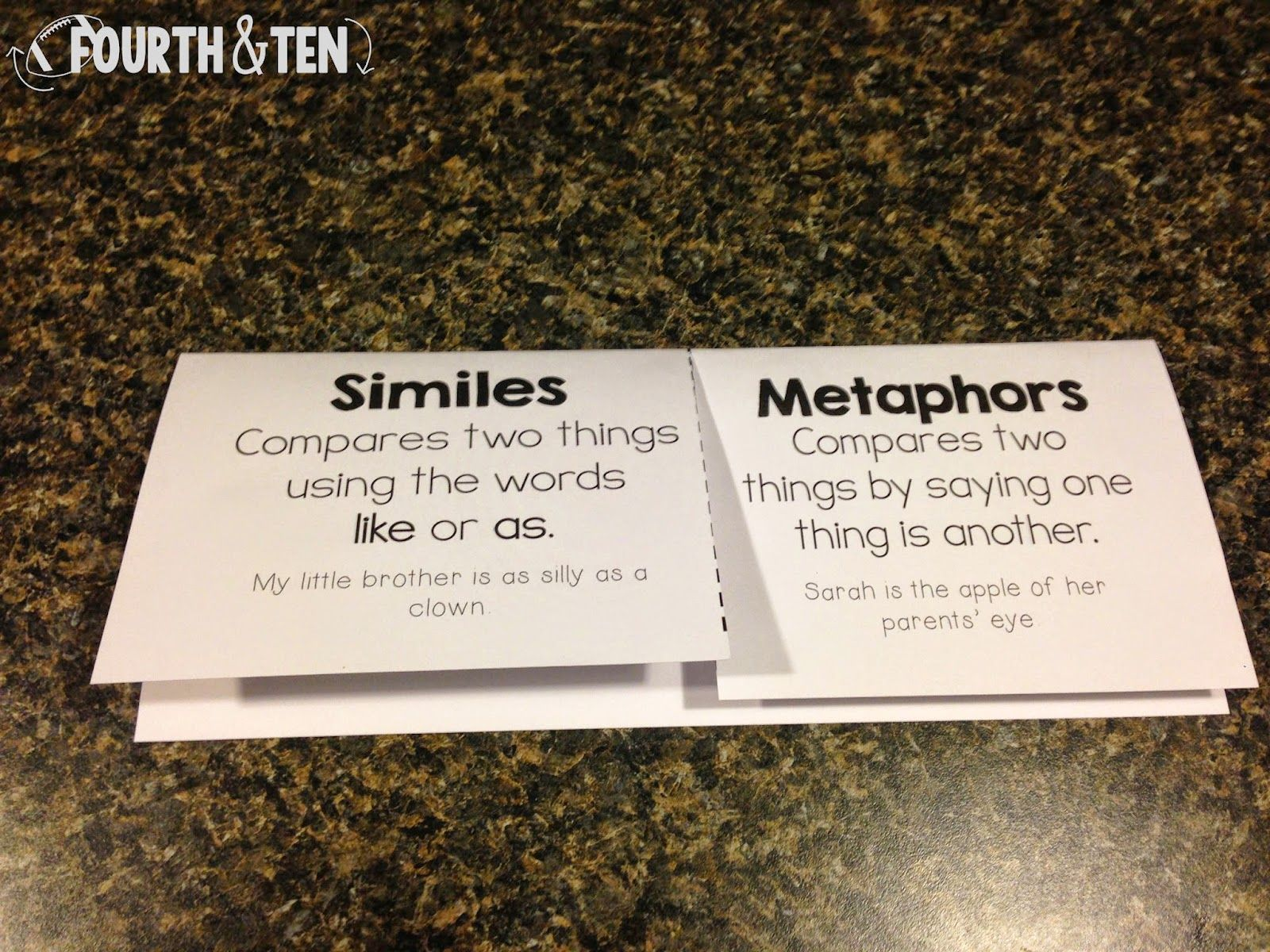 Fourth Grade Activities For Introducing Similes And Metaphors Lots Of Fun Ideas