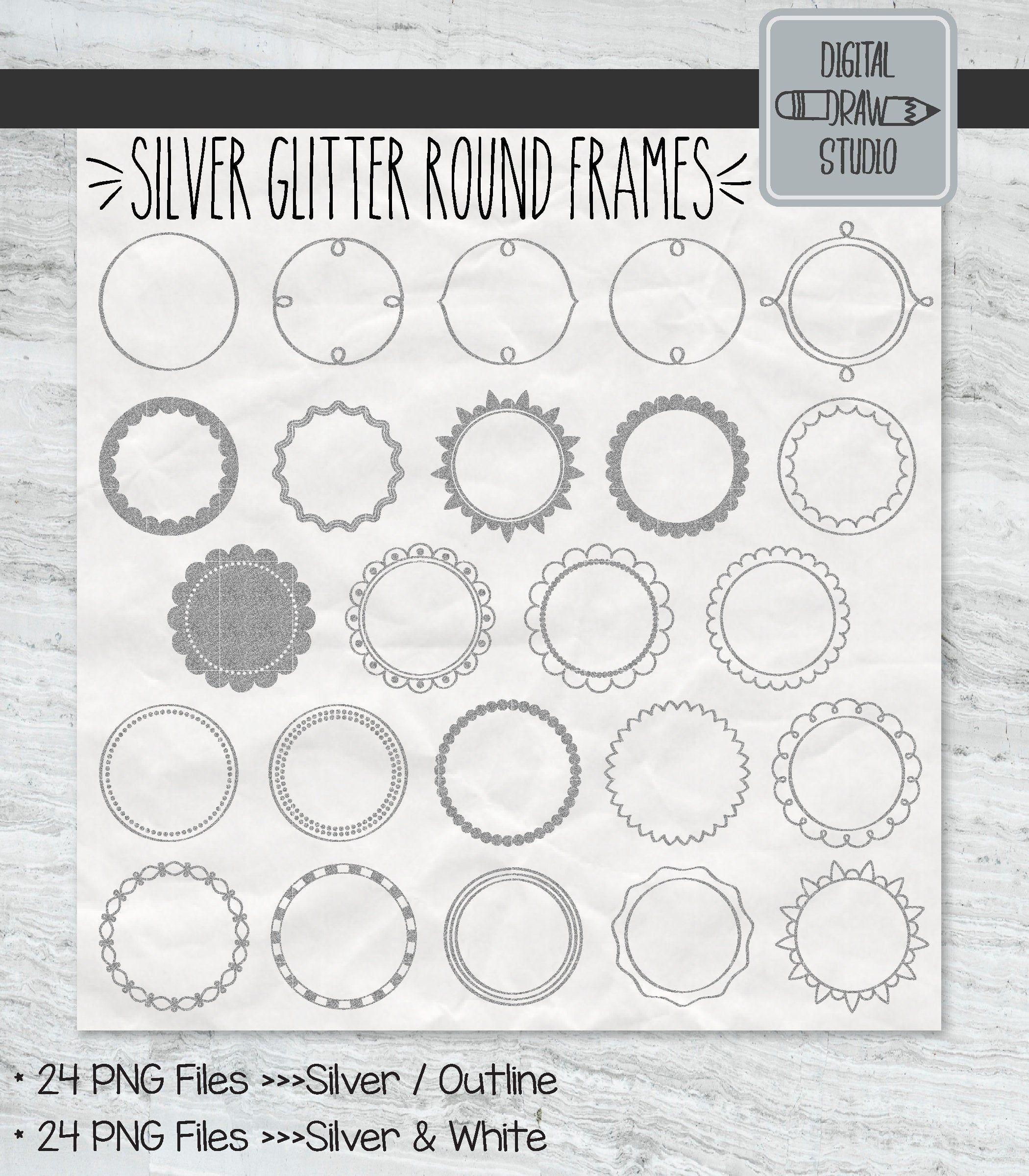 Photo of 24 Silver Glitter Round Frame ClipArt | Handgezeichnete Bordüre + dekorative Etiketten | Blumenkränze Illustrationen Bundle | Druckbare PNG-Dateien