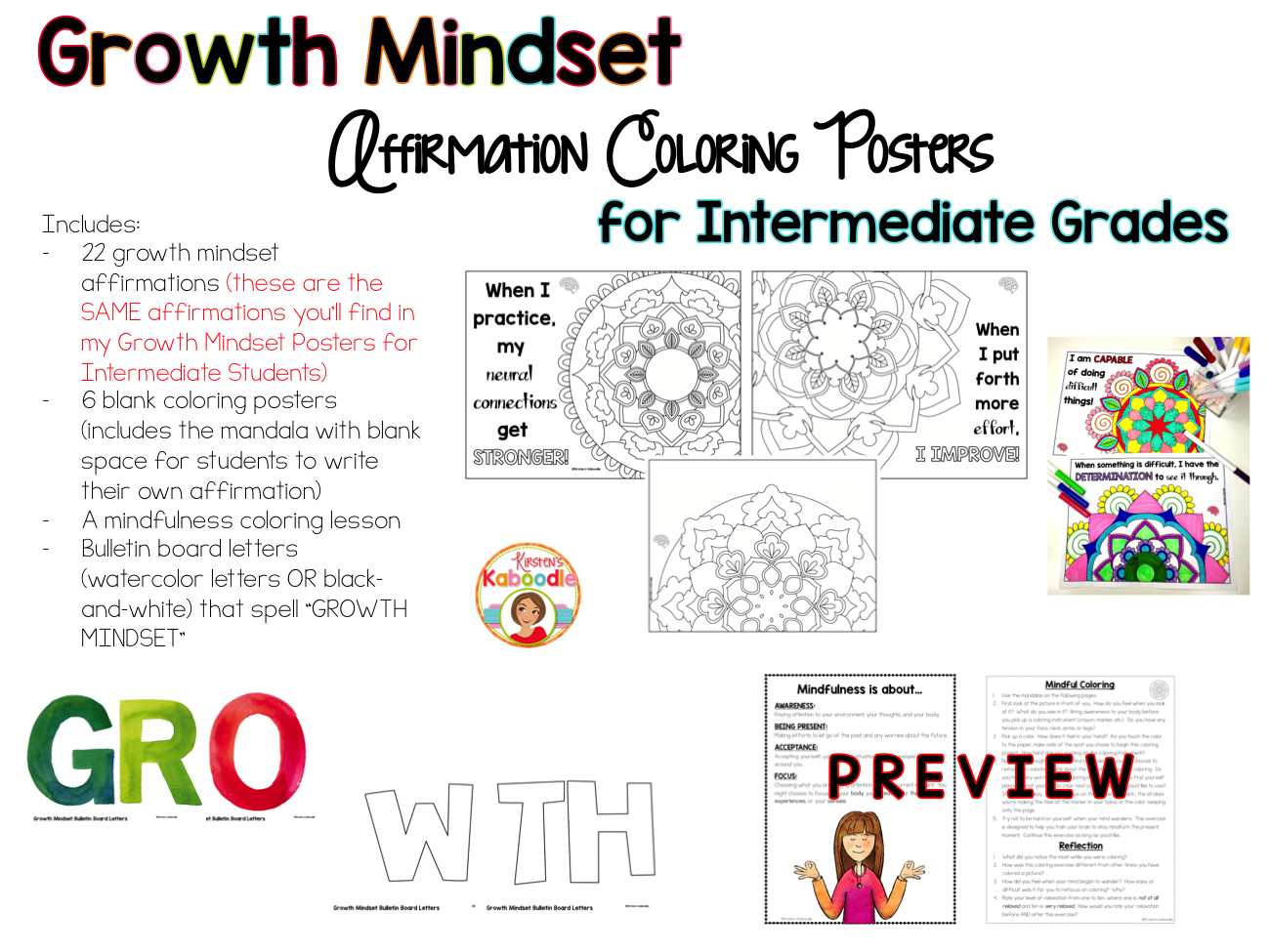 Growth Mindset Coloring Pages Affirmations For Upper Grades Growth Mindset Growth Mindset Posters Affirmations