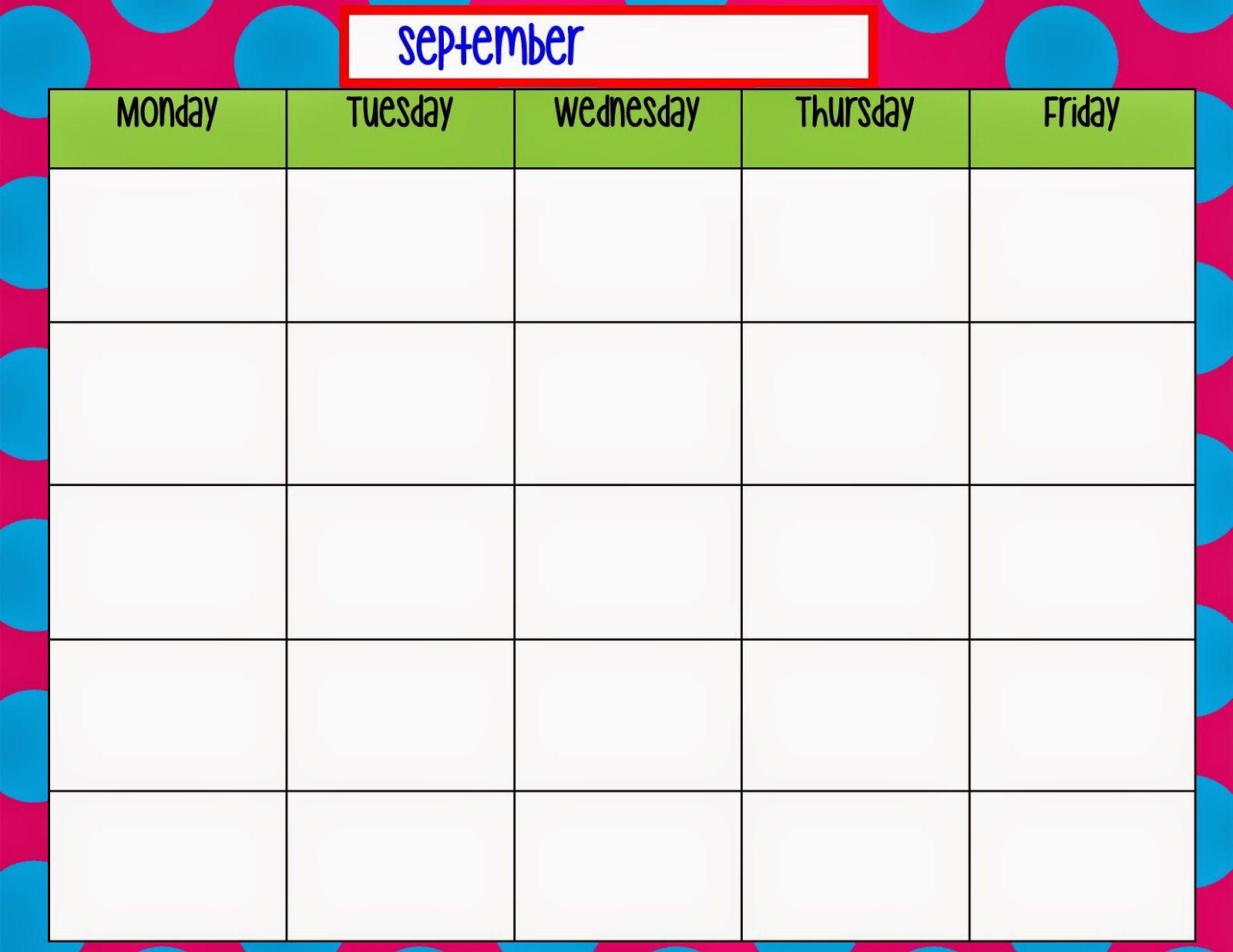 Monday Through Friday Calendar Template