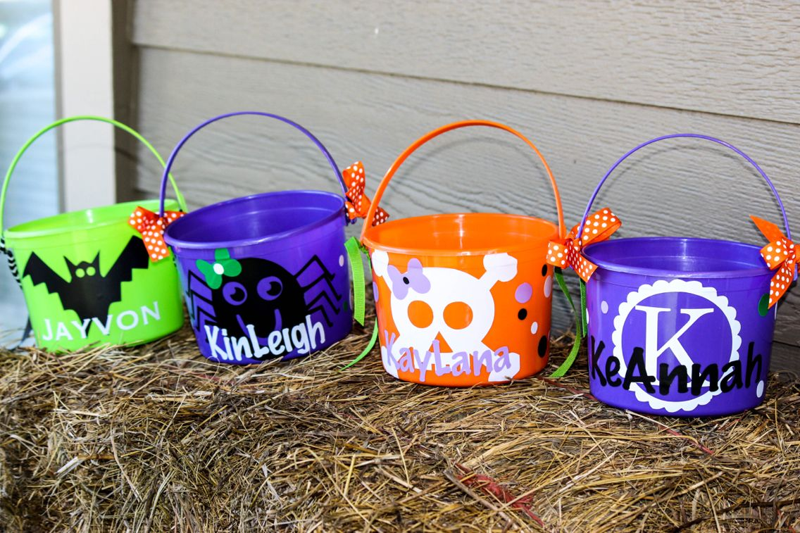 Small personalized halloween buckets. $10.00