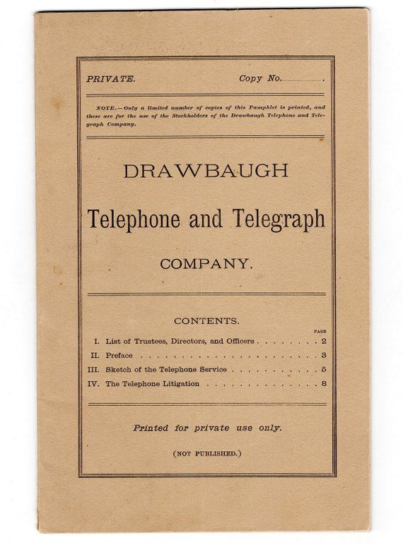 Rare early telephone 1884 pamphlet drawbaugh telephone legal rare early telephone 1884 pamphlet drawbaugh telephone legal challenger to alexander graham bell inventor m4hsunfo