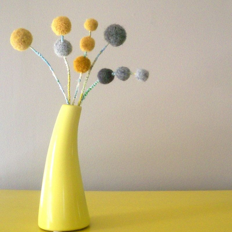 Mustard And Grey Felt Flowers Wool Craspedia Pom Poms Gray Felt Balls Modern Floral Spray Boho Chic Felt Flowers Flower Vases Modern Floral