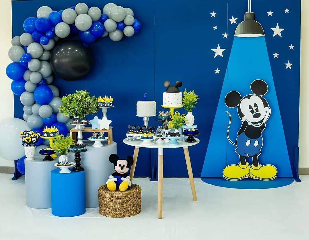 La Fiesta Con Mickeymouse En Azul Créditos Danicarlaartesefestas Ecumple Decor Diy Fiesta Deco Eventos Cu Mickey Party Baby Mickey Kids Birthday