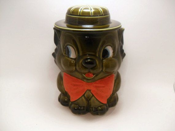 Vintage Kitty Cat Cookie Jar by TheRetroRemedy on Etsy, $34.00
