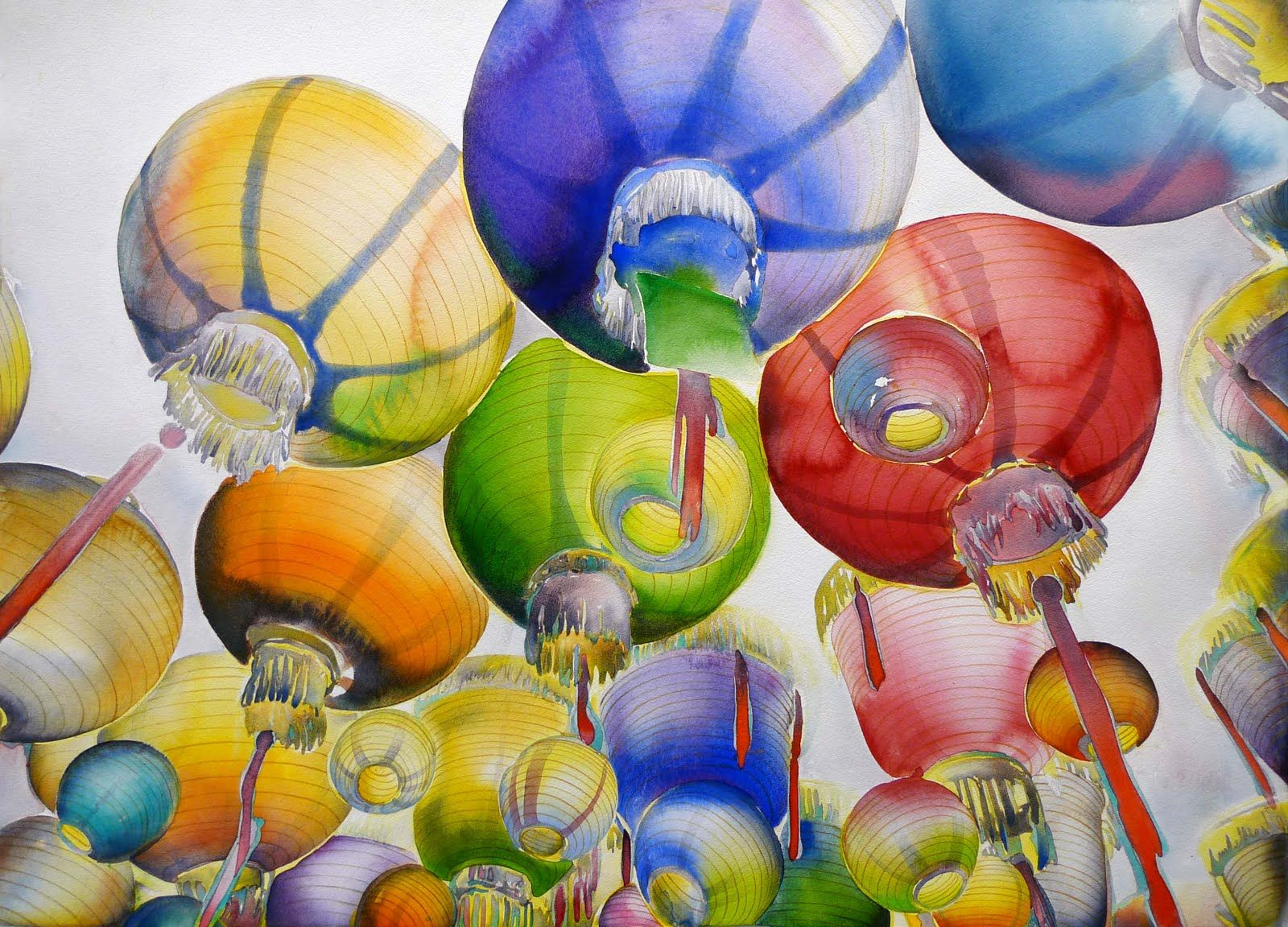 Chinese Lanterns Watercolor Finally Finished Painting Fall
