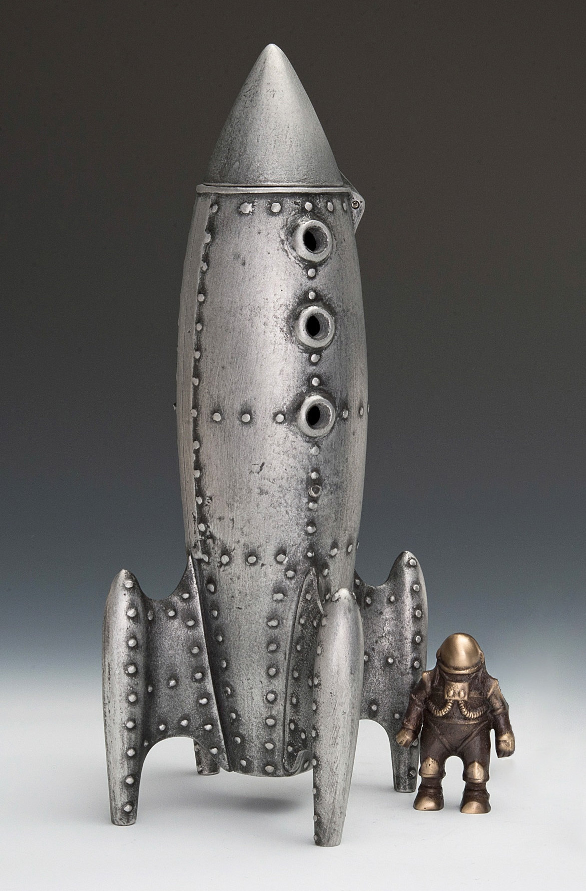 Moon Rocket Coin Bank With Spaceman By Scott Nelles Metal Bank