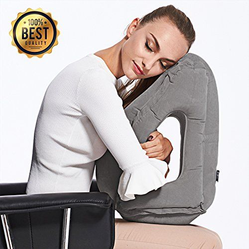 Inflatable Travel Pillow Sleep Aid – with Eye Mask, Earplugs, & Carry Pouch  - Airplane Pillow for Long-Haul Flights & Road Trips – Fast Inflate /  Deflate, Compa… (With images) | Travel