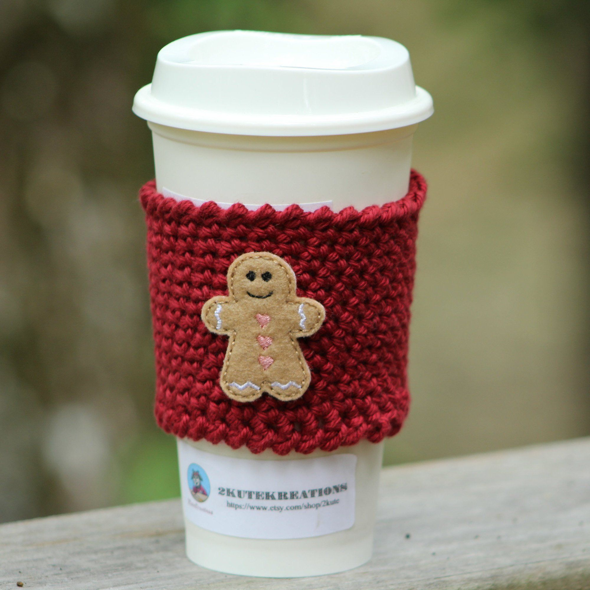 Cup Sleeve Cup Cozy Crochet Coffee Cozy Gingerbread Man Cozy Christmas Gift Gift Mom Gift Best Friend G Crochet Coffee Cozy Cup Cozy Coffee Cup Sleeves