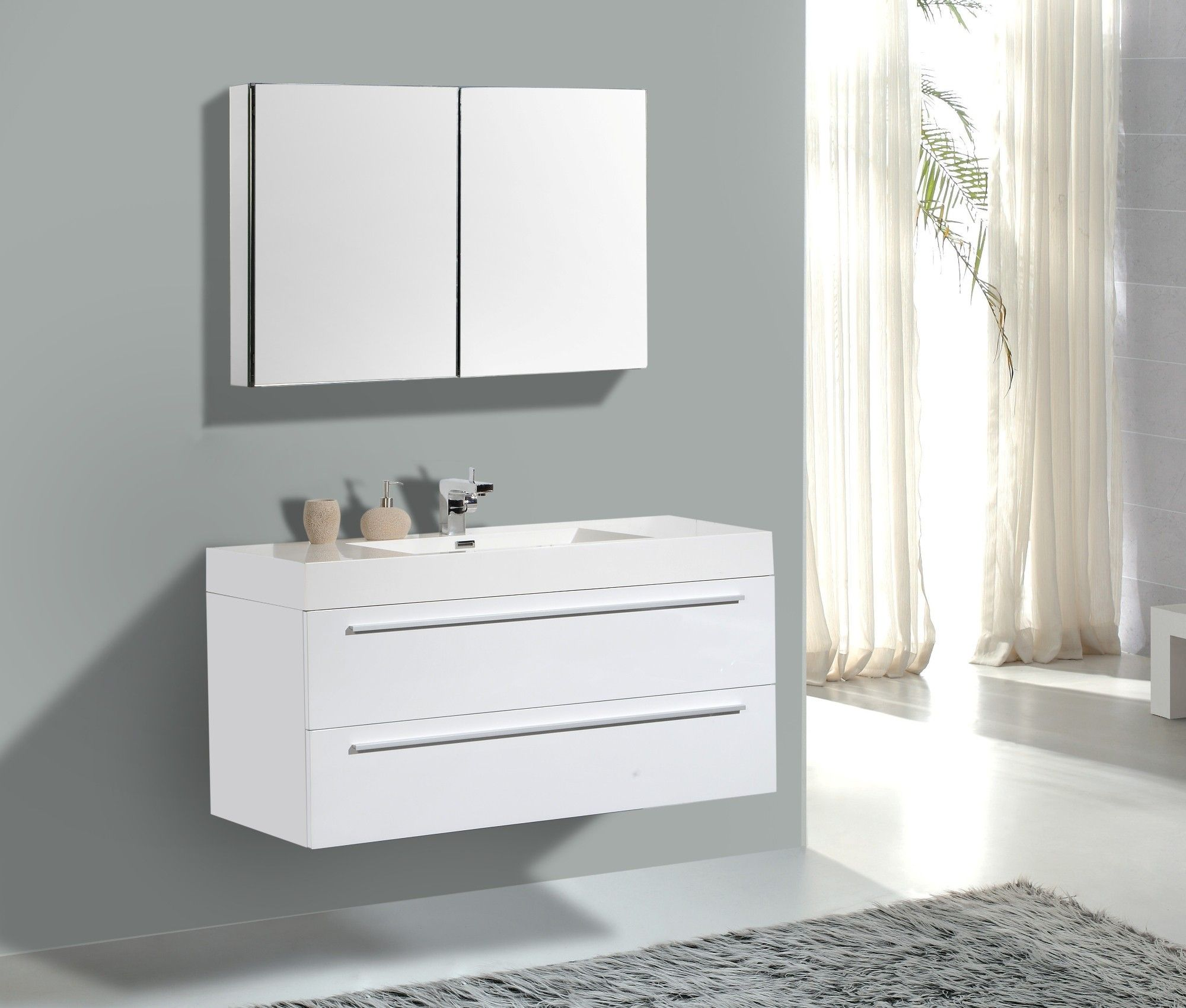 Modern bathroom cabinet - Aqua Decor Maya 47 Modern Bathroom Vanity Set W Medicine Cabinet White