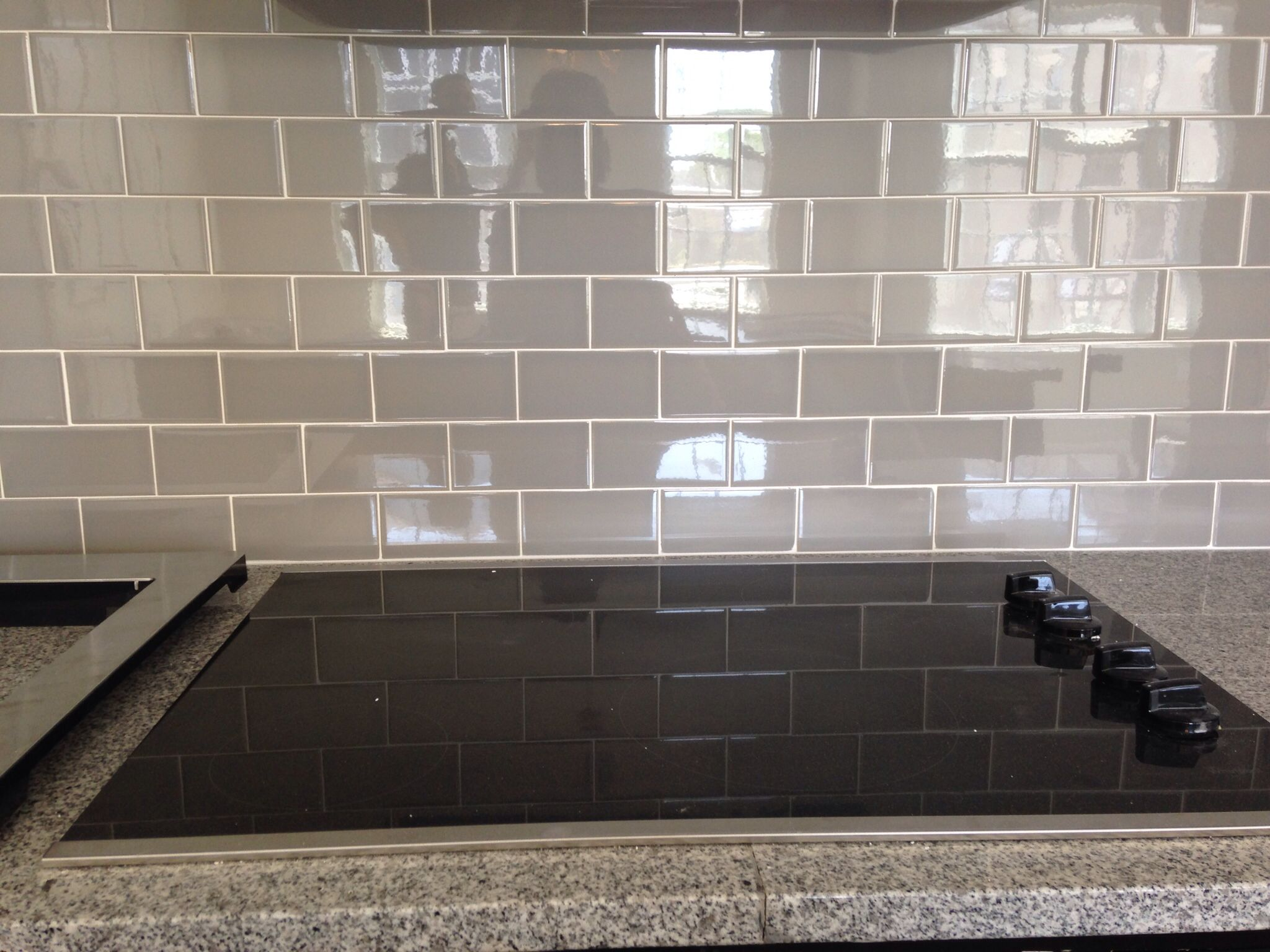 gray kitchen backsplash delta lewiston faucet grey subway tile new house pinterest