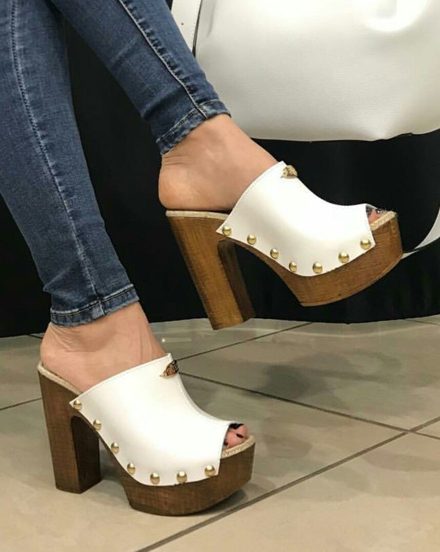 364a3790232 Wooden platform mules 😁 Wedge Mules