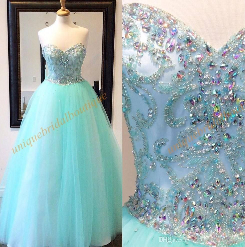 Mint Quinceanera Dresses 2017 With Sweetheart Neck And Major Beading ...