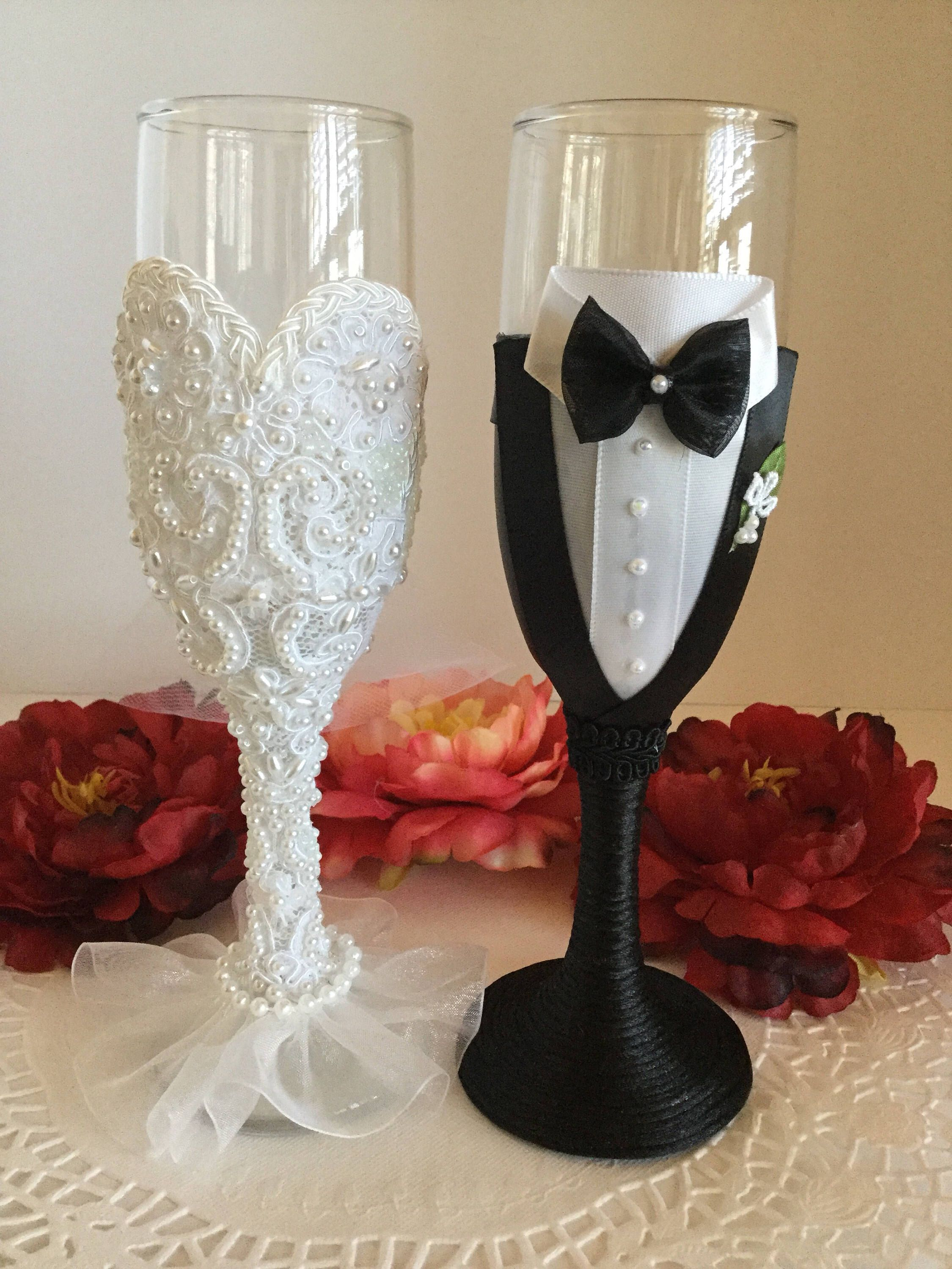 Haute Couture Bride And Groom Champagne Glasses Beautiful Wedding Champagne Glasses Champagne Glasses Decorated Wedding Champagne Flutes