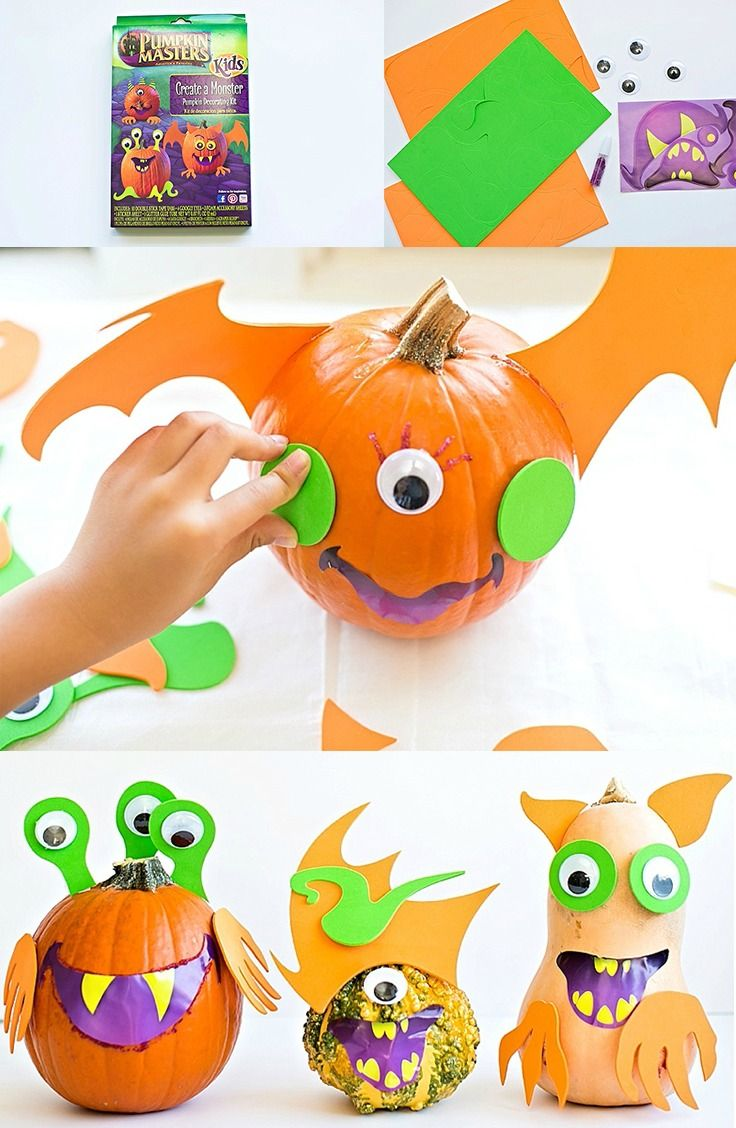 No carving necessary and approved for all ages! Pumpkin Masters Create a Monster kit helps kids and adults turn their average pumpkins into creepy creatures this Halloween. It makes for a great DIY craft or party activity.