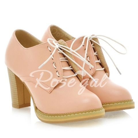 Sweet Solid Colour and Chunky Heel Design Women's Pumps