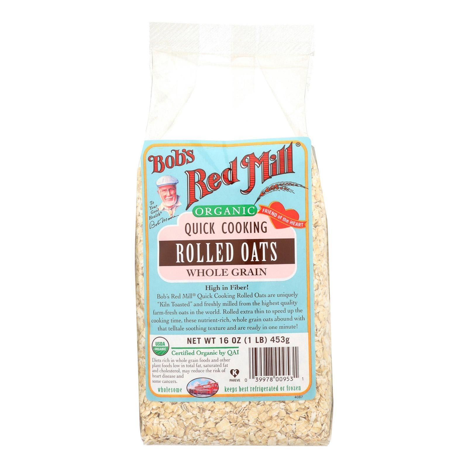 Bob S Red Mill Organic Quick Cooking Rolled Oats 16 Oz Case Of 4 Cooking Rolled Oats Quick Cooking Bobs Red Mill