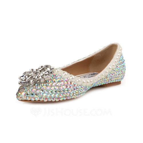 791706be3f899c Find this Pin and more on JUNE. Women s Patent Leather Flat Heel Closed Toe  Flats With Rhinestone
